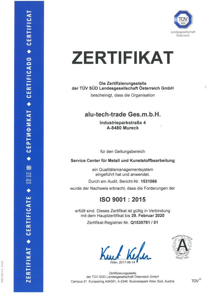 Zertifikat ATT Deutsch