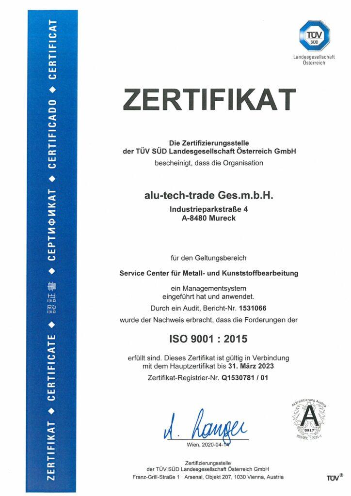 alu-tech-trade - Zertifikat Deutsch